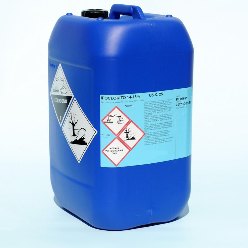 Ipoclorito di sodio liquido 14 15 tanica da lt 25 for Cloro per piscine
